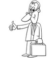 black and white happy cartoon businessman with vector image vector image