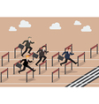 Businessman race hurdle competition vector image