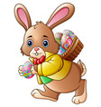 cartoon easter bunny carrying a basket full of egg vector image vector image