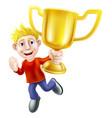 cartoon man and winners trophy vector image vector image