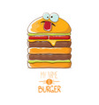 cartoon smiling big burger character with vector image