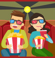 caucasian friends in 3d glasses watching movie vector image vector image