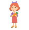 caucasian girl holding fresh carrot vector image