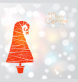 christmas greeting card with coral red christmas vector image vector image