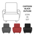 cinema armchair icon in cartoon style isolated on vector image