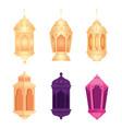 collection eid al adha mubarak colors lanterns vector image vector image