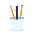 colored pencils in a glass for office flat vector image vector image