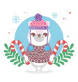 cute polar bear with hat and sweater merry vector image