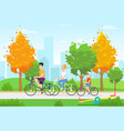 cycling family members flat rest vector image vector image