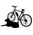 Dog and Bike Silhouette vector image vector image