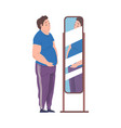 fat young man looking at his reflection in the vector image vector image