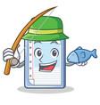 fishing clipboard character cartoon style vector image