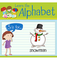 Flashcard letter S is for snowman vector image vector image