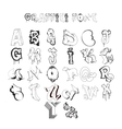 Graffiti font alphabet letters Hip hop grafitti vector image