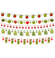 greeting card with hanging christmas ornaments vector image
