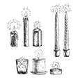 hand drawn set candles vector image