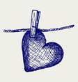 Heart in clothesline vector image vector image
