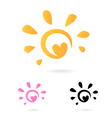 heart sun icon vector image vector image