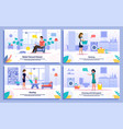 housekeeping activities flat banners set vector image vector image