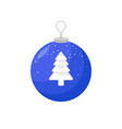 icon of a blue christmas bulb with a spruce in the vector image