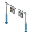 isometric lamp lights for city traffic jams vector image