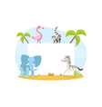 jungle animals with blank banner elephant zebra vector image vector image