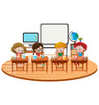 kids doing science experiment in classroom vector image vector image