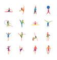 kids gymnastic flat set vector image
