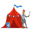 knight in armor with sword near military camp tent vector image
