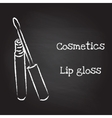 Lip gloss painted with chalk on blackboard vector image