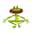 little funny frog with open mouth cute green vector image