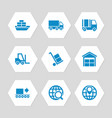 logistic delivery and transportation icons set vector image