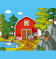 many farm animals in the farm vector image vector image