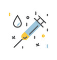 Medical syringe and a drop icon flat vector image