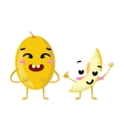 Melon Cute fruit character couple isolated vector image