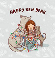 new year card with girl and dogs with snow vector image vector image