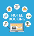online hotel booking laptop with holiday icons vector image vector image