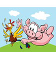pig catch a hen vector image