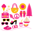 Pink summer beach elements set isolated on white vector image vector image