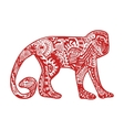 Red monkey in hand-drawn zentangle style vector image