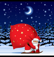 santa claus by ski with a red big sack vector image vector image