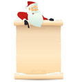 santa pointing parchment sign vector image vector image