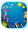 Sea life round frame with fish vector image