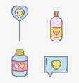 set heart lollipop and bottle with love pills and vector image