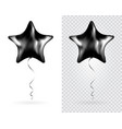 set of black star foil balloons on transparent vector image