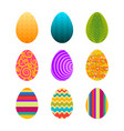 set of colorful easter eggs with swirls vector image