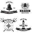 set of sea and nautical decorations isolated vector image