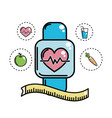 smartwatch with heartbeat with healthy icons vector image vector image