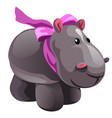 soft toy plush grey hippo with pink bow isolated vector image