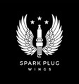 spark plug with wings logo icon vector image vector image